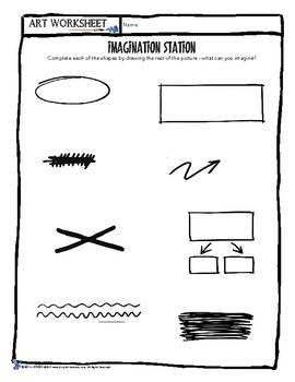 Imagination Station - Art Doodle Worksheet: Complete the squiggle!