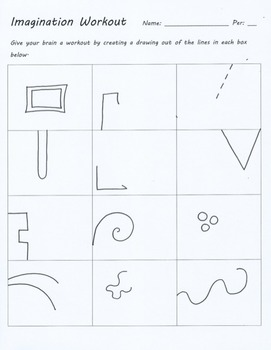 Imagination Workout Creativity Test Drawing Sub Art Lesson Plan Doodle Worksheet