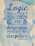 """""""Imagination will get you everywhere."""" 8.5 x 11 watercolor poster"""