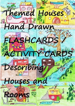 Imaginative Hand Drawn Themed Houses for Describing Buildings ESL English Lesson