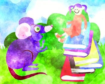 Imaginative Reading Clip Art Girl