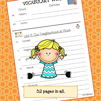 Imagine It! 1st Grade Vocabulary Words (Listed by Units - Blank definitions)