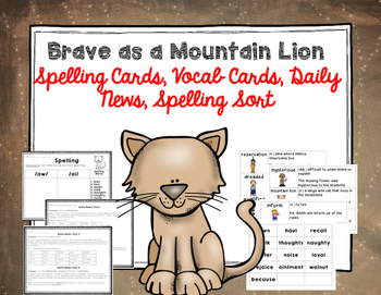 "Imagine It ""Brave as a Mountain Lion""  Unit 5.5 Reading Focus Wall-Task Cards"