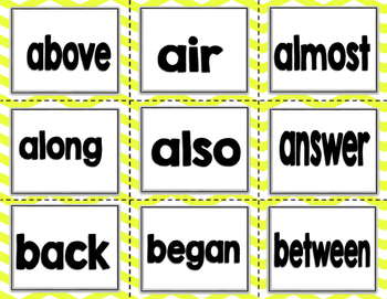 Imagine It SRA High Frequency Words 3rd grade -  yellow chevron
