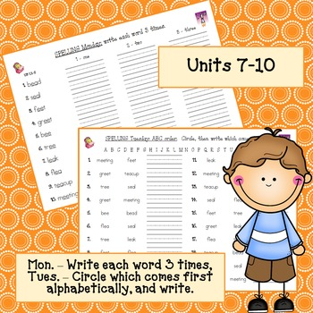 Imagine It! Homework for Units 7-10 Spelling Words