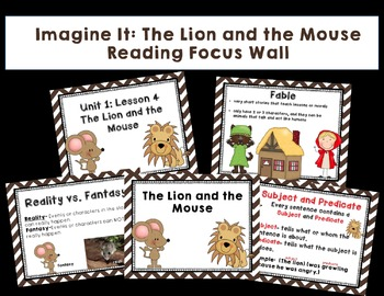 "Imagine It ""The Lion and the Mouse "" 1.4- Reading Focus Wall-Grammar Task Cards"