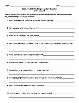 Imagine It! Third Grade Unit 1 Story Questions