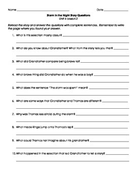 Imagine It! Third Grade Unit 6 Story Question