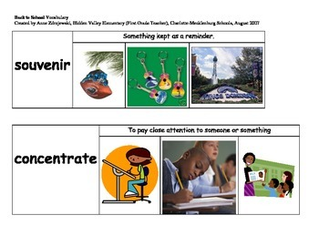 Imagine It Unit 1 Vocabulary Picture Cards-Back to School