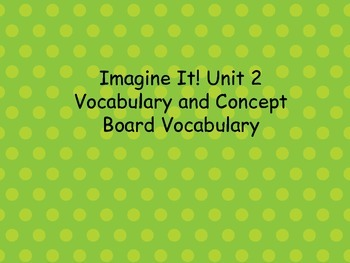 Imagine It! Unit 2 Vocabulary Posters for First Grade