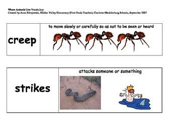 Imagine It Unit 2 Vocabulary Picture Cards-Where animals live