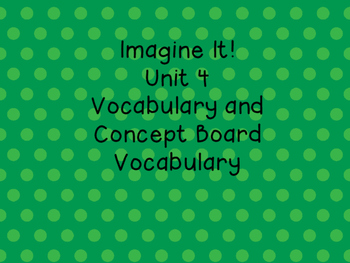 Imagine It! Unit 4 Vocabulary Posters for First Grade