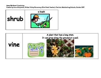 Imagine It Unit 8 Vocabulary Picture Cards--Away we grow