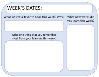 Imagine Learning Weekly Response Homework Log