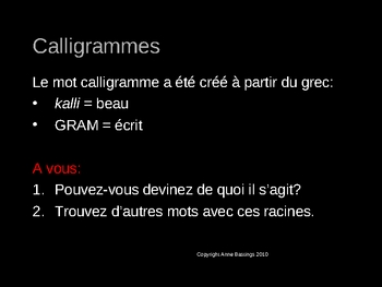 Imaginez - Calligrams: from Apollinaire to PowerPoint (in French)