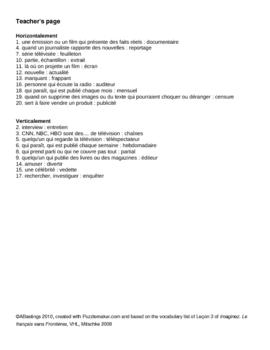 Imaginez L'Univers Médiatique Crisscross puzzle with teacher's page