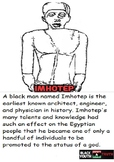 Imhotep Coloring Sheet and Biography.