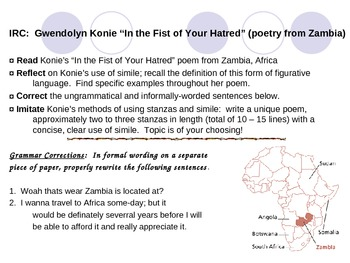 Grammar, Figurative Language, Writing Activity~Contemporary African Poetry