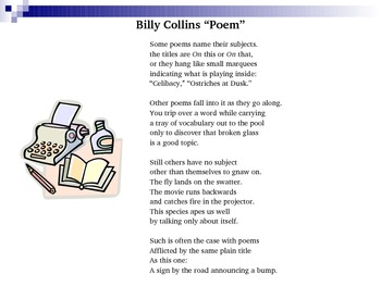 "Grammar, Figurative Language, & Creative Writing Activity~Billy Collins' ""Poem"""