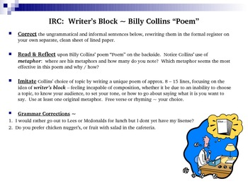 "Grammar, Figurative Language, & Creative Writing Activity~Billy Collins' ""Poem"""