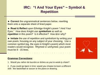 Symbolism, Grammar, & Creative Writing Activity: Contemporary Poetry