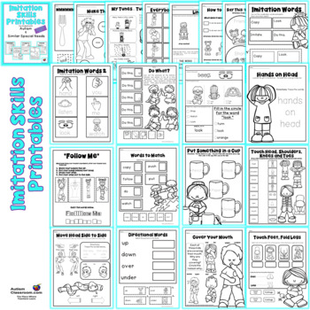 Imitation Skills Printables for Students with Autism & Similar Special Needs