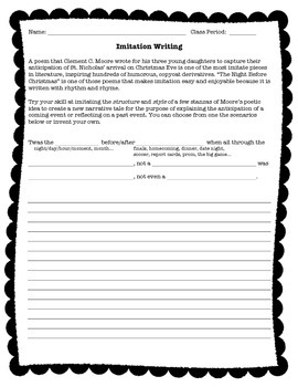 Imitation Writing Activity / Lesson (free!)