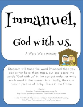 """""""Immanuel, God with us"""" Word Work"""