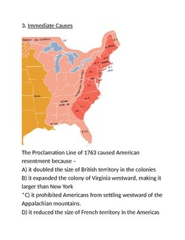 Immediate Causes American Revolution Test