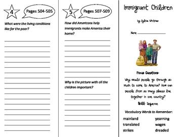 Immigrant Children Trifold - Imagine It 4th Grade Unit 5 Week 3