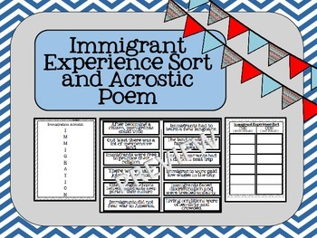 Immigration Experience Sort and Acrostic Poem