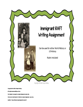 Immigrant RAFTT writing project-US History