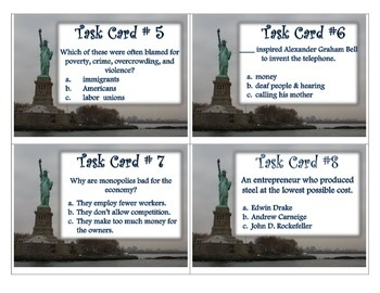 Immigrants and Inventors 5th Grade SS Task Cards
