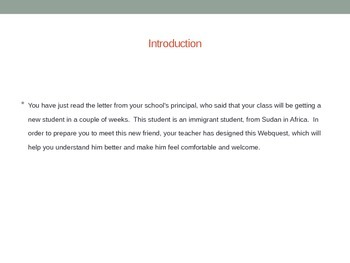 Immigrating from Sudan WebQuest