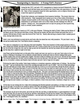Immigrating to America- A Young Girl's Story - Primary Source Reading Passage