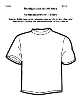 Immigration Act of 1917 T-Shirt Design Assignment