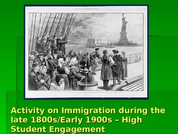Immigration Activity for US History Late 1800s Early 1900s