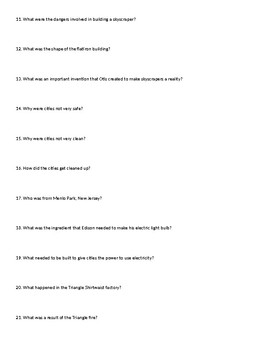 Immigration: America the Story of US worksheet (Cities Episode)