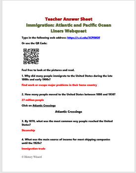 Immigration: Atlantic and Pacific Ocean Liners Webquest