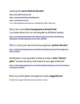 Immigration Chapter Book List (Upper Elementary to Middle School)