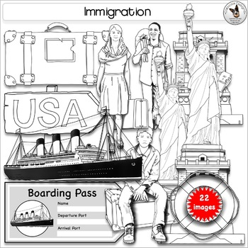 Immigration Clip Art, Statue of Liberty, Immigrants, Steam Ship, Suitcase.