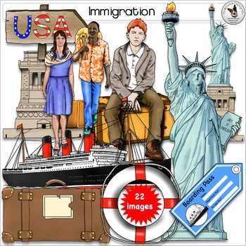 Immigration and Statue of Liberty Realistic Clip Art