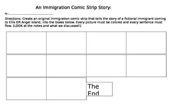 Immigration Comic Strip Activity