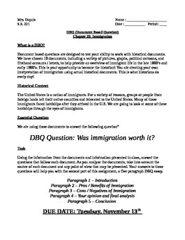 Immigration DBQ Directions and Rubric