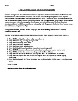 Immigration: Discrimination of Irish Immigrants homework / classwork