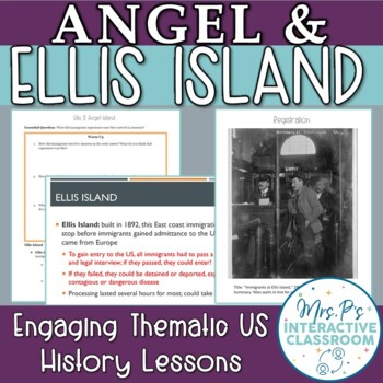 Immigration: Ellis & Angel Island Lesson & One Pager Activity