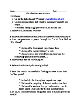 Immigration: Ellis Island Website Tour and Questions Packe
