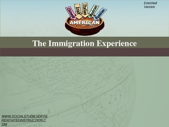 Immigration Experience Differentiated Instruction PowerPoint
