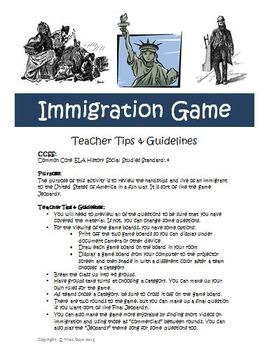 Immigration Game Activity