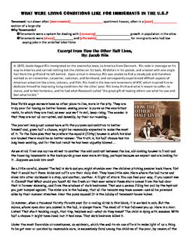 Immigration Jacob Riis Close Reading Lesson Plan/Activity